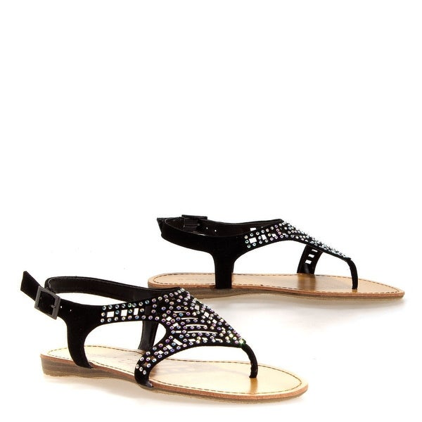 Bamboo Women Steno-87 Pretty Crystal Slingback Sandals