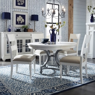 Harbor View II White 5-piece Round Table Dining Set
