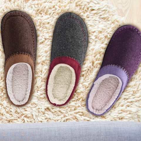 Women's Two Tone Wool-Like Slip on Indoor/Outdoor Slippers