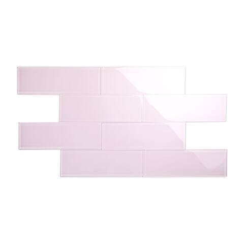 Rose Pale Pink 4x12 Glass Subway Tile