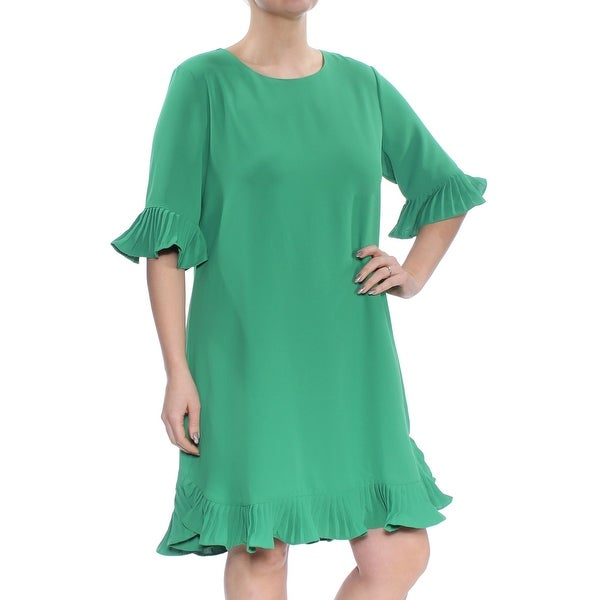 d7769696a912f Shop ALFANI Womens Green Pleated Flounce Bell Sleeve Jewel Neck Knee Length  Shift Dress Size: 2 - Free Shipping On Orders Over $45 - Overstock -  27772776