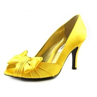 Nina Forbes Women Peep-Toe Canvas Yellow Heels
