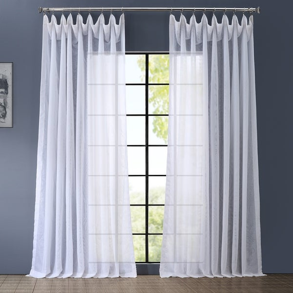 Exclusive Fabrics Double Layer Sheer White Single Curtain Panel. Opens flyout.