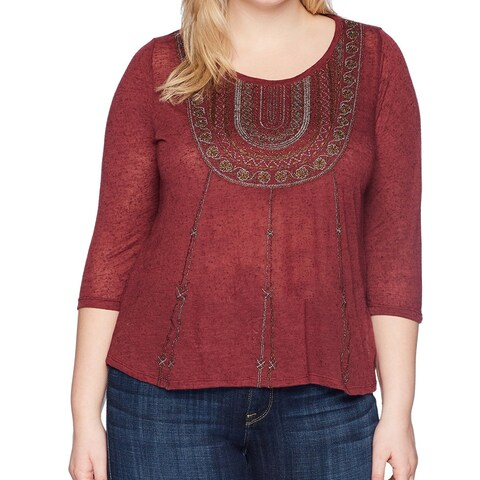 Lucky Brand Red Cranberry Womens Size 1X Plus Glitter Tunic Blouse
