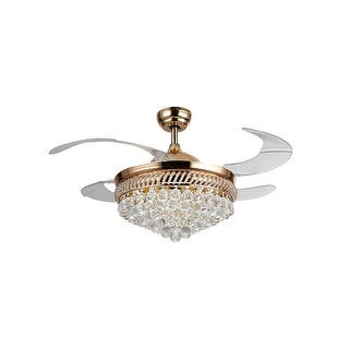 42.5-inch Modern Gold LED Crystal Ceiling Fan with Foldable 4-Blades