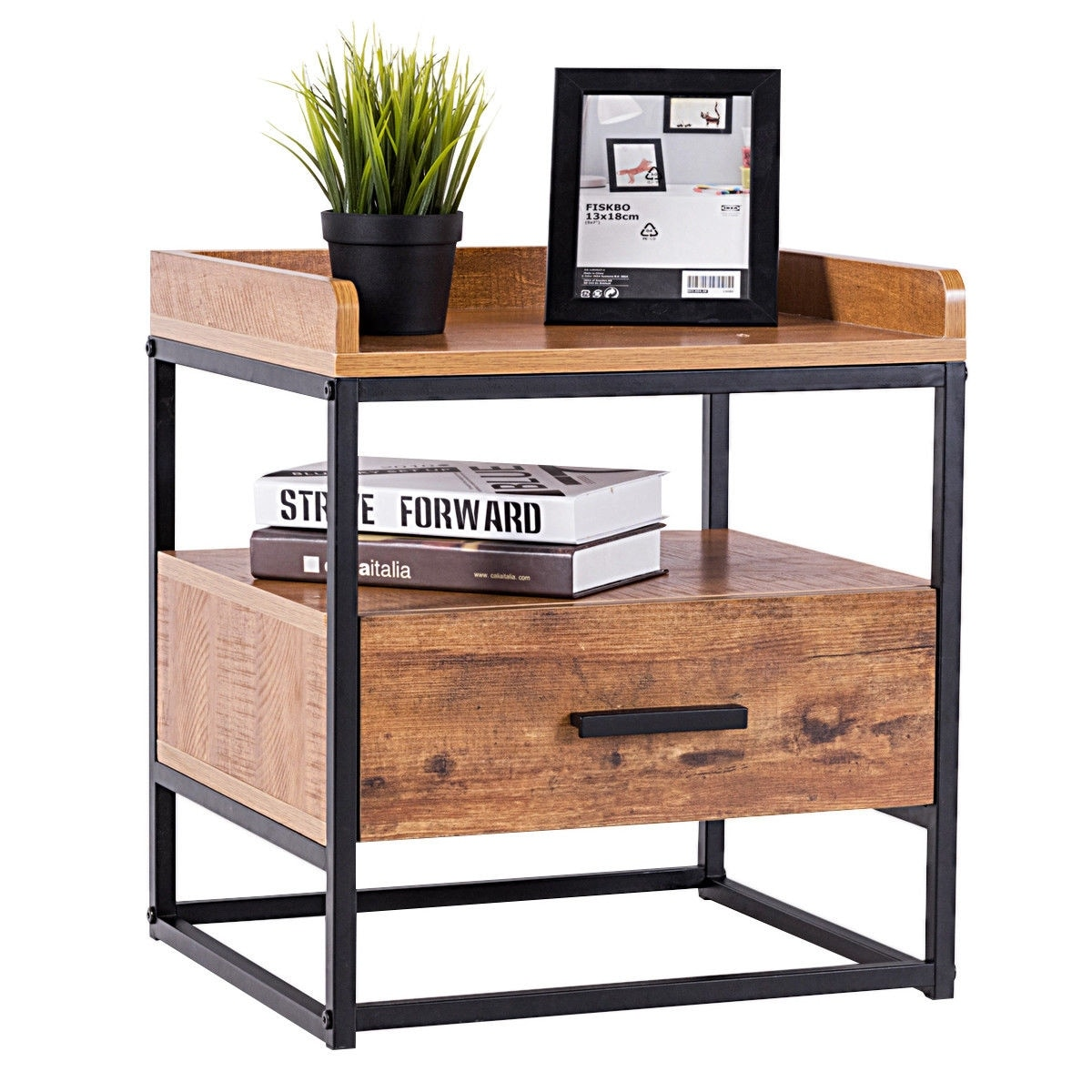 Gymax 2 Tiers End Side Sofa Table Metal Nightstand Storage Display Bedroom W 1 Drawer As Pic