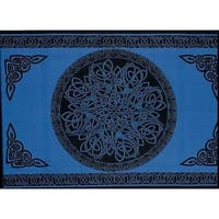 Handmade 100% Cotton Celtic Circle Wheel Of Life Tapestry Spread Twin Blue Full Queen King