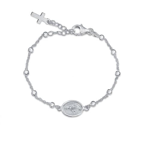 Medal Rosary Prayer Beads Virgin Mary Cross Bracelet Sterling Silver