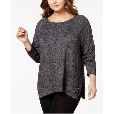 Calvin Klein Women's Plus Size Marled Active Sweats Black Size 3 Extra Large - XXX-Large