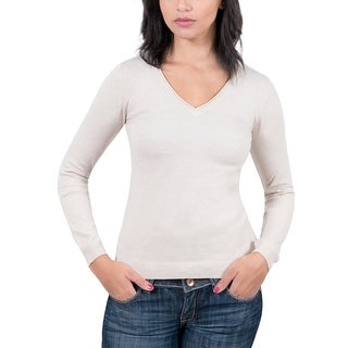 Real Cashmere Beige V-Neck Womens Sweater