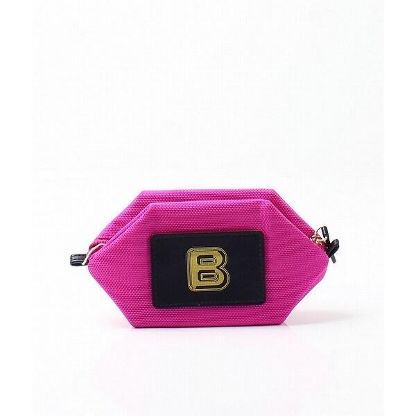 "Boulevard Bright Pink Monogram ""B"" Nylon Bubble Pouch Mini Wallet"