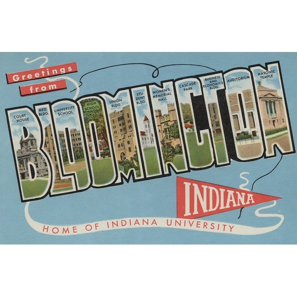 Bloomington IN U Large Letter Vintage Halftone (Acrylic Wall Clock)