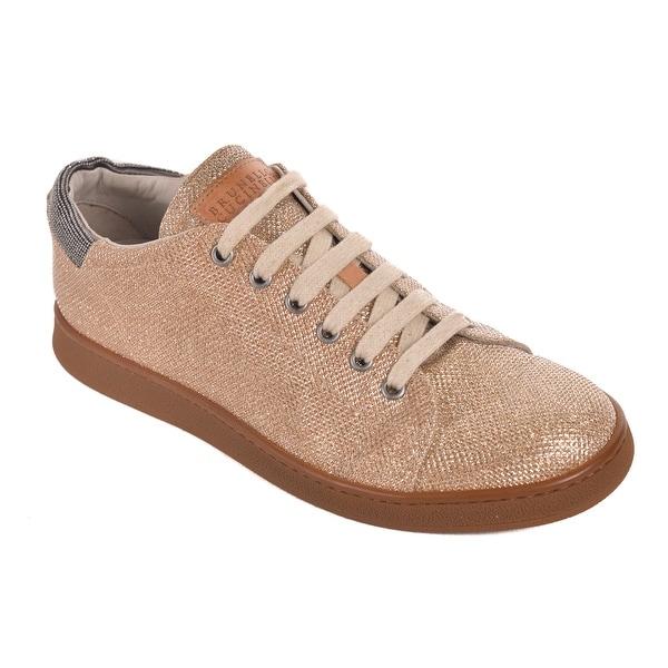 56a1611369 Shop Brunello Cucinelli Gold Metallic Monili Low Top Sneakers - Free ...