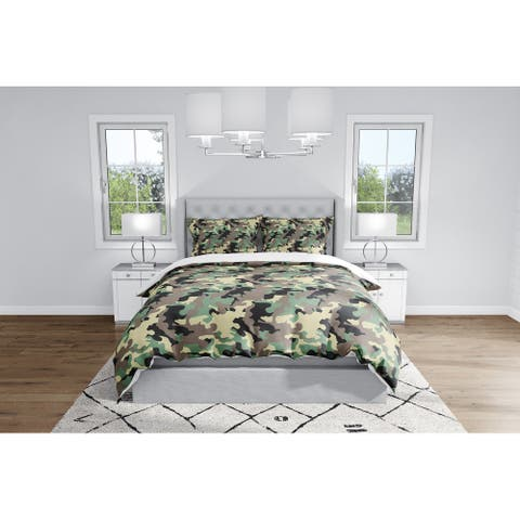 CAMO FLOW GREEN BLACK BROWN Duvet Cover By Kavka Designs