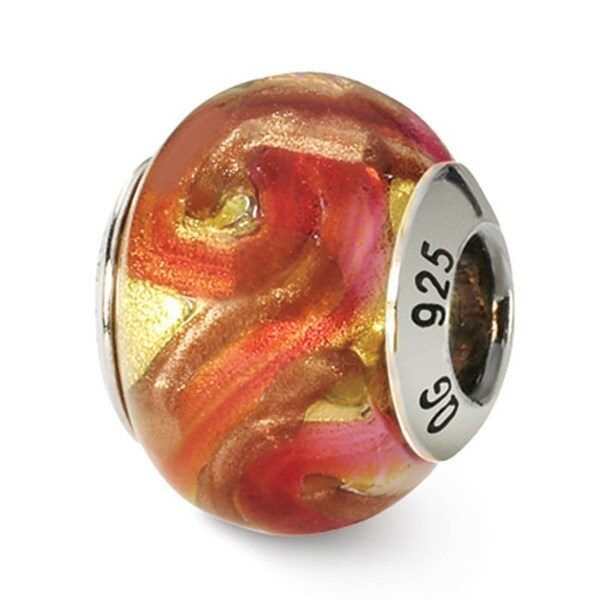 Italian Sterling Silver Reflections Yellowith Red/Orange Bead (4mm Diameter Hole)