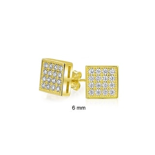 Bling Jewelry Gold Plated 925 Silver Micro Pave CZ Square Studs 6mm