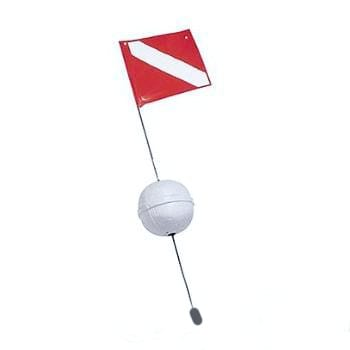 """4fl Ball Float with Stiffener Flag 14"""" x 18"""" Red/White"""