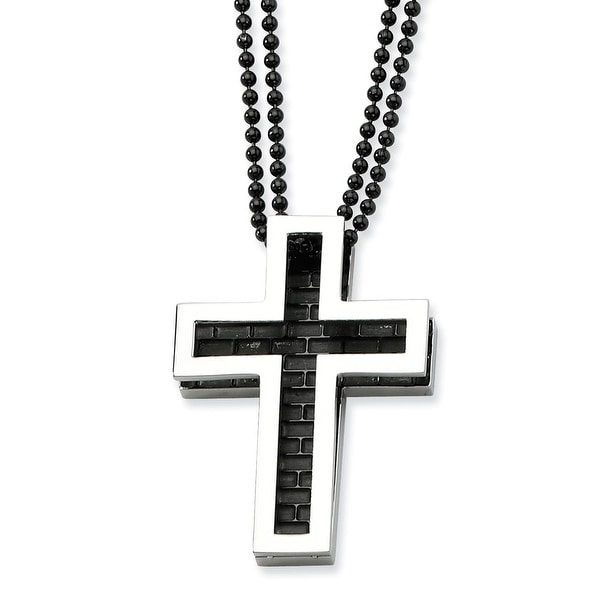 Chisel Stainless Steel IP Black plating Cross 22 Inch Necklace (2 mm) - 22 in