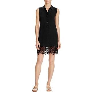 Equipment Womens Lucida Shirtdress Silk Lace-Trim