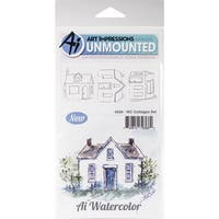 "Art Impressions Watercolor Cling Rubber Stamps 4""X7""-Cottages"