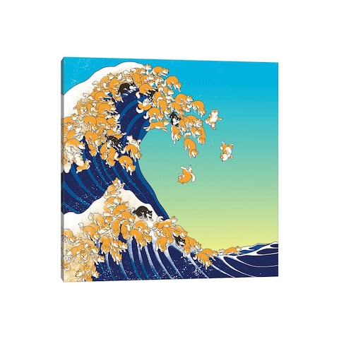 """iCanvas """"Shiba Inu In Great Waves"""" by Big Nose Work Canvas Print"""