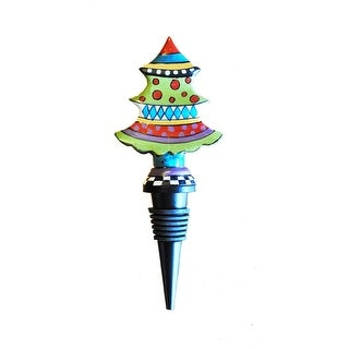 """Set of 2 Hand Painted Cast Metal Whimsical Christmas Tree Bottle Stoppers 7"""""""