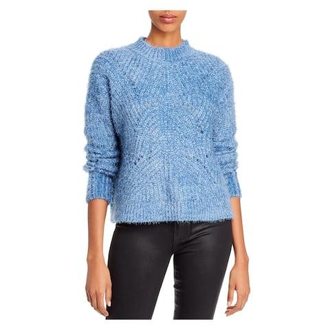 AQUA Womens Blue Solid Long Sleeve Crew Neck Sweater Size S