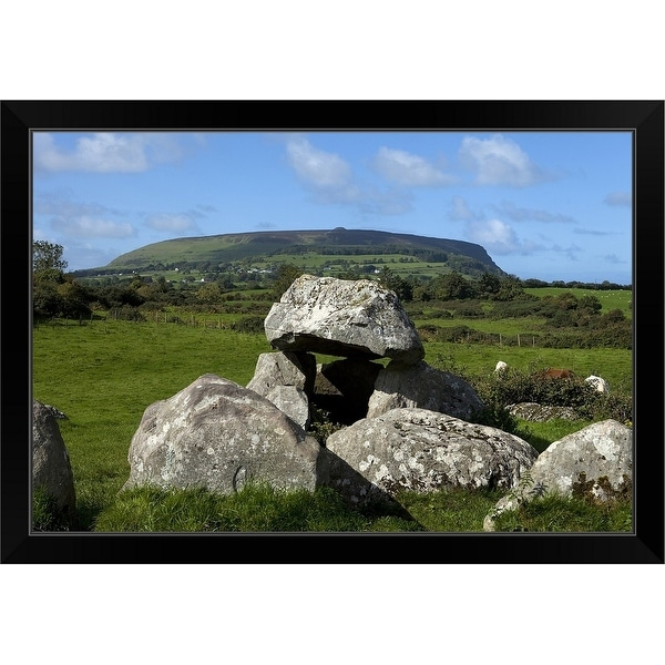 """Dolmen Portal Tomb in a Stone Circlke at Carrowmore Megalithic Cemetery"" Black Framed Print"