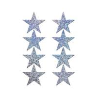 Mini Silver Glitter Star Pasties, Silver Glitter Pasties - One Size Fits most