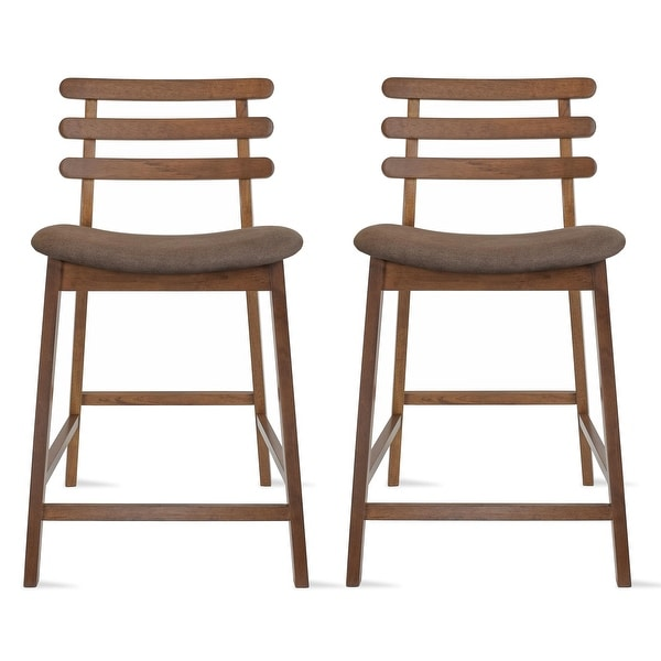 Set of 2 Counter Stools Open Back Medium Dark Wood Cushion Tall Chairs For Restaurant Bar Home. Opens flyout.
