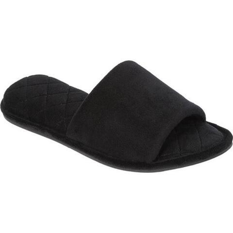 3aee9e97d Dearfoams Women s Microfiber Velour Side Gore Open Toe Slipper Black