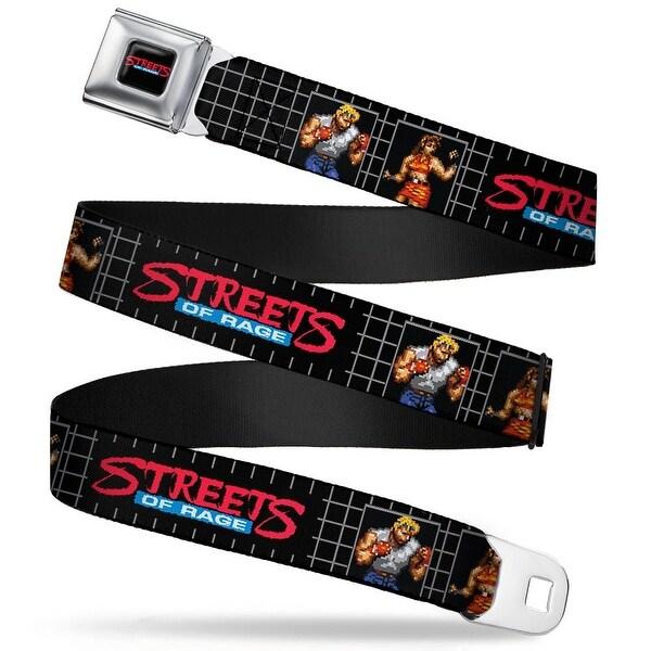 Sega Genesis Streets Of Rage Logo Full Color Black Red Blue White Streets Seatbelt Belt