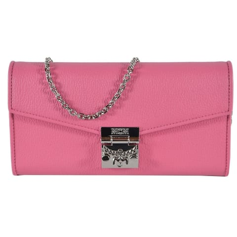 MCM Women's Large Sugar Pink Leather Crossbody Chain on Wallet Purse
