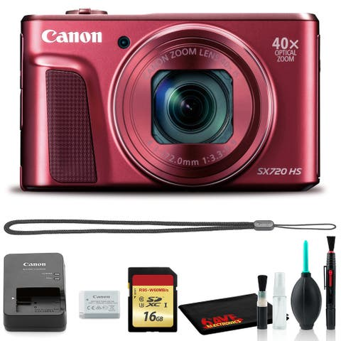 Canon Powershot SX720 Digital Camera (Red) with Cleaning Kit and 16GB