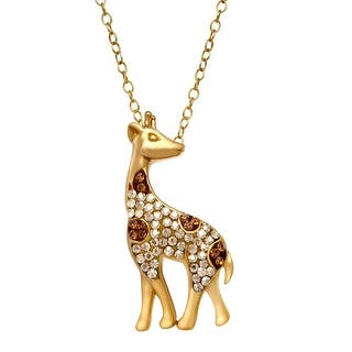 Crystaluxe Giraffe Pendant with Swarovski Crystals in 14K Gold-Plated Sterling Silver - Smokey|https://ak1.ostkcdn.com/images/products/is/images/direct/915cd8dc3281920ad20e83634bc33bc2c5aaeb6c/Crystaluxe-Giraffe-Pendant-with-Swarovski-Crystals-in-14K-Gold-Plated-Sterling-Silver.jpg?impolicy=medium