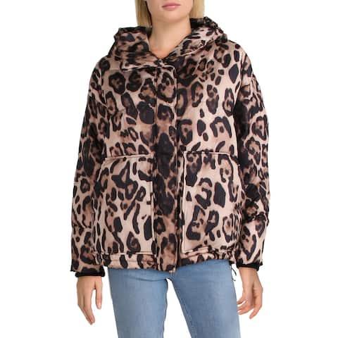 Aqua Womens Puffer Coat Winter Oversized - Leopard