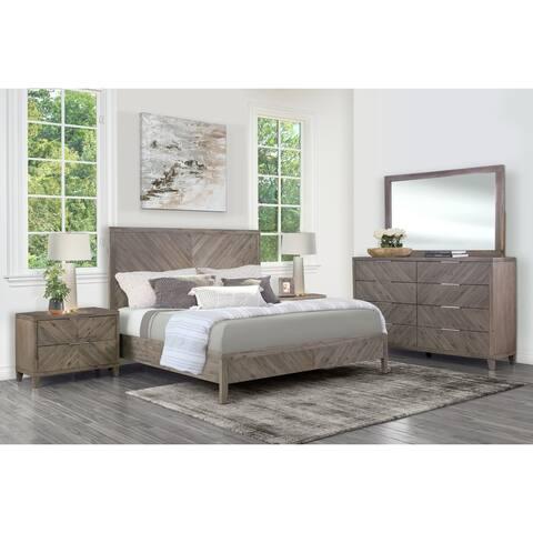 Abbyson Felix Weathered Grey Chevron 5 Piece Bedroom Set