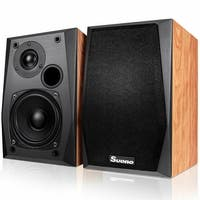 Costway Wall-mount Passive Bookshelf Speakers Professional Home Office W/ 4'' Woofer - as pic