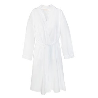 La Cera Cotton Robe with Embroidery and Peal Accents - White