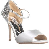 Badgley Mischka Honor Rhinestone Sandals, White
