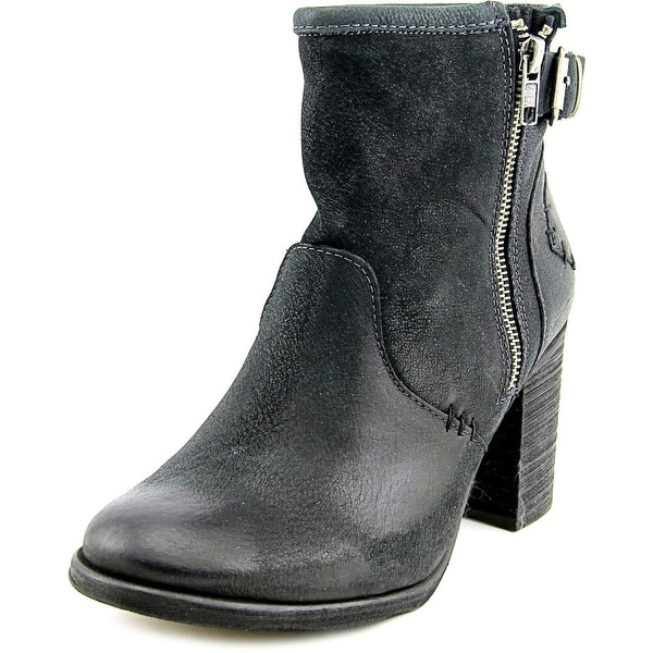 Coolway MC-22 Women Round Toe Leather Black Ankle Boot