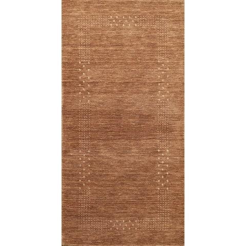 "Modern Tribal Brown Gabbeh Oriental Runner Rug Wool Hand-knotted - 2'4"" x 4'8"""