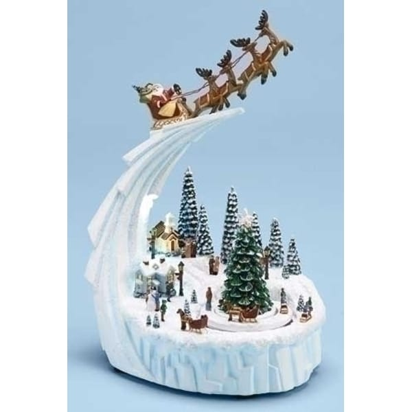 """9"""" Musical Lighted Santa Claus with Sleigh Rotating Winter Scene Christmas Decoration - WHITE"""