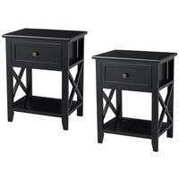 Costway 2PCS End Bedside Table Nightstand Drawer Storage Room Decor W/Bottom Shelf Black - Side Tables