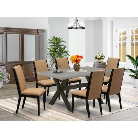 X696LA147-5 5-Piece kitchen table set a Cement Color Kitchen Table and 4 Linen Fabric Dining Chairs