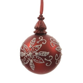 """Alpine Chic Red with White Decorative Floral Design Glass Christmas Ball Ornament 3.25"""" (80mm)"""