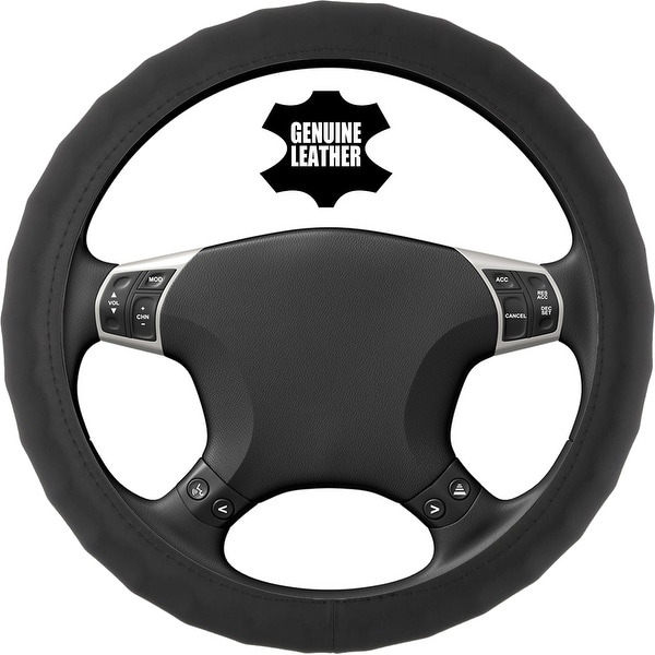 KM World Black 13.5-14.25 Inch PU Leather Steering Wheel Cover With Finger Indentations, Fits Honda Civic