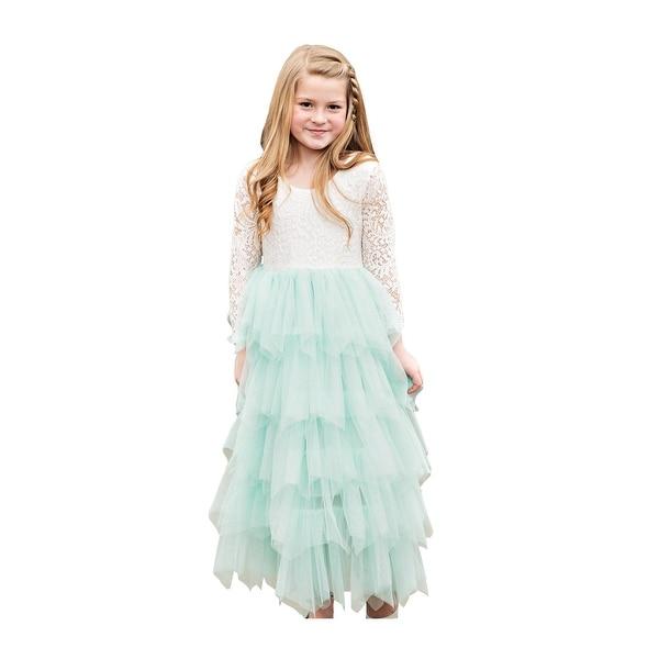 fd5e7d2775 Shop Little Girls Mint Floral Bodice Tired Skirt Long Sleeve Flower Girl  Dress - Free Shipping Today - Overstock - 23084841