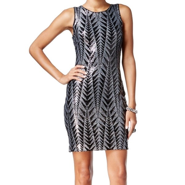 e0bdff7878d0 Shop Guess NEW Black Silver Womens Size 12 Chevron Print Sequin Sheath Dress  - Free Shipping On Orders Over $45 - Overstock - 20534183