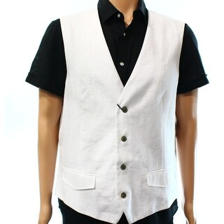 Tasso Elba NEW Bright White Mens Size Small S Solid Four-Button Vest